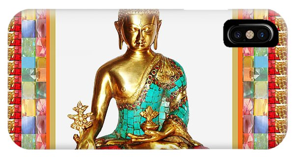 Buddha Sparkle Bronze Painted N Jewel Border Deco Navinjoshi  Rights Managed Images Graphic Design I IPhone Case