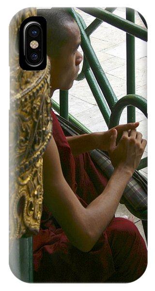 Buddhist Monk Leaning Against A Pillar Sule Pagoda Central Yangon Myanar IPhone Case