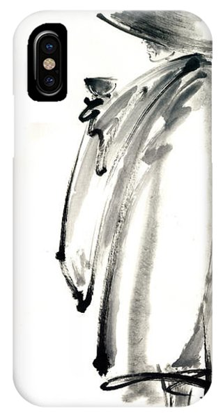 Buddhist Monk With A Bowl Zen Calligraphy Original Ink Painting Artwork Phone Case by Mariusz Szmerdt
