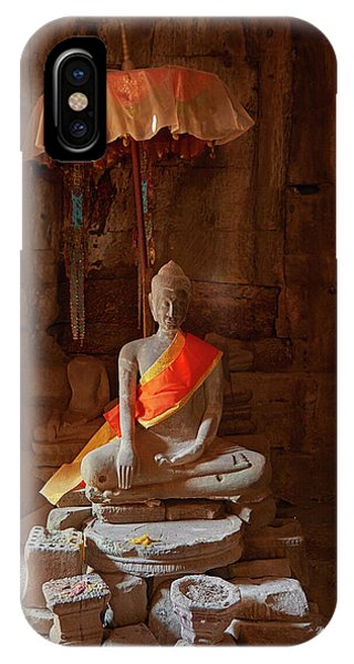 Angkor Thom iPhone Case - Buddhist Shrine, Bayon Temple Ruins by David Wall