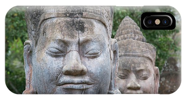 Angkor Thom iPhone Case - Buddhist Statues At The South Gate by Keren Su