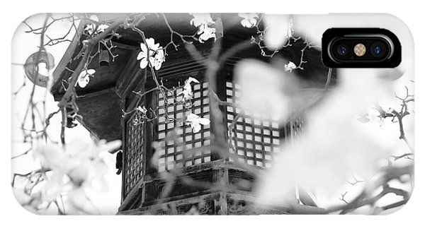 Buddhist Temple In Black And White - Ornate Lamp Post IPhone Case