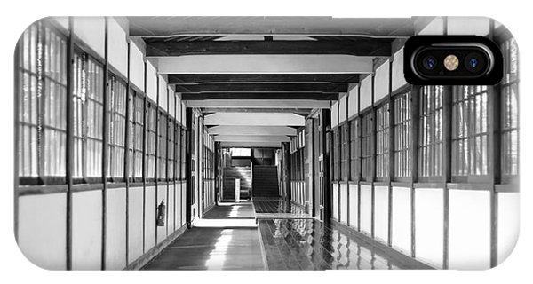 Buddhist Temple In Black And White - Passageway IPhone Case