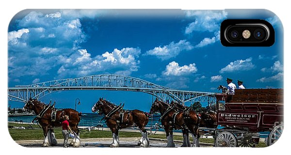 Budweiser Clydsdales And Blue Water Bridges IPhone Case
