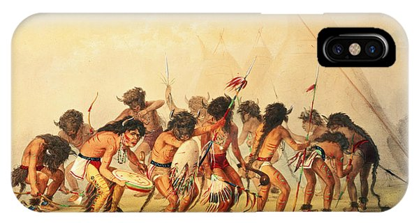 Indian Village iPhone Case - Buffalo Dance by George Catlin