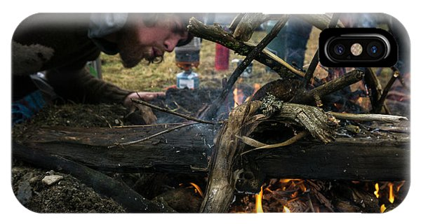 Knit Hat iPhone Case - Building A Fire A Camp After A Day by Brandon Huttenlocher