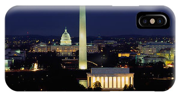 Washington Monument iPhone Case - Buildings Lit Up At Night, Washington by Panoramic Images