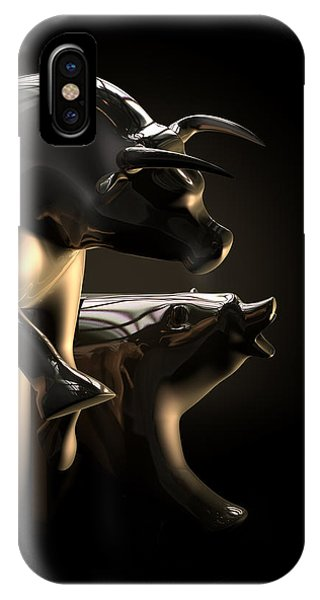 Bull And Bear Stock Market Statues IPhone Case