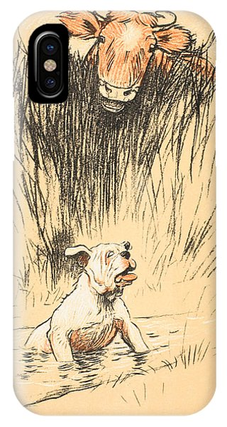 Accident iPhone Case - Bull And Dog In Field by Cecil Charles Windsor Aldin