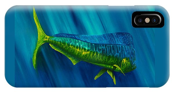 IPhone Case featuring the painting Bull Dolphin by Steve Ozment