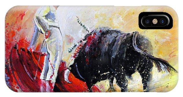 iPhone Case - Bull In Yellow Light by Miki De Goodaboom
