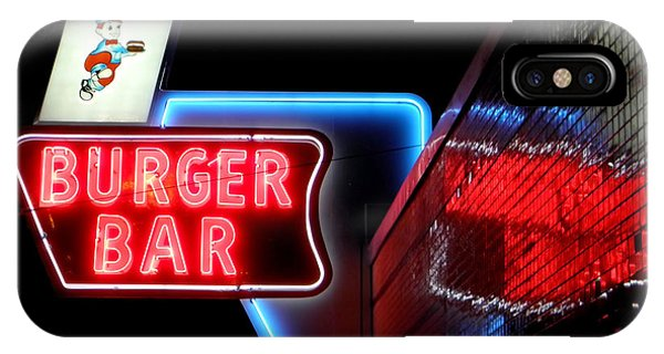 Burger Bar Neon Diner Sign At Night IPhone Case