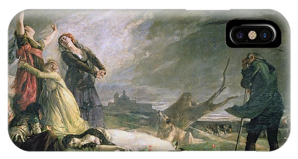 Anguish iPhone Case - Burial At La Moncloa In May 1808 Oil On Canvas by Vincente Gonzalez Palmaroli