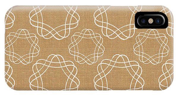 Tan iPhone Case - Burlap And White Geometric Flowers by Linda Woods