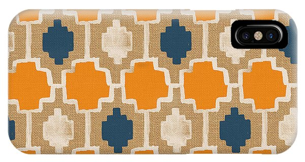 Square iPhone Case - Burlap Blue And Orange Design by Linda Woods