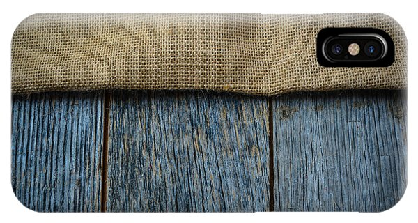Burlap Texture On Wooden Table Background IPhone Case
