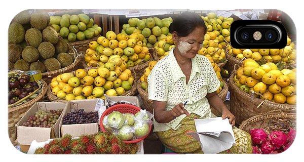 Burmese Lady Selling Colourful Fresh Fruit Zay Cho Street Market 27th Street Mandalay Burma IPhone Case