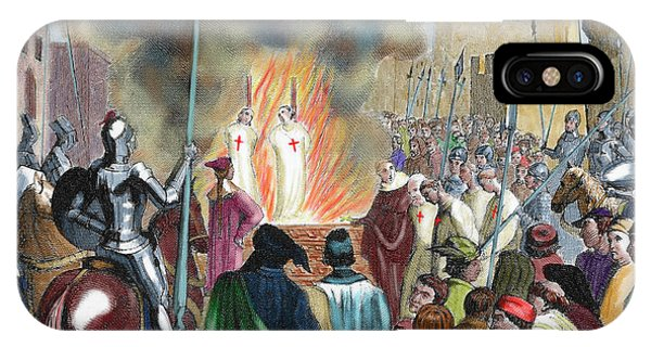 1851 iPhone X Case - Burning Templar In The 14th Century by Prisma Archivo
