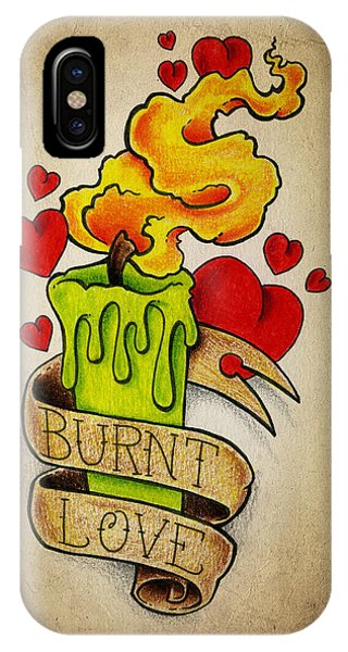Color Pencil iPhone Case - Burnt Love by Samuel Whitton