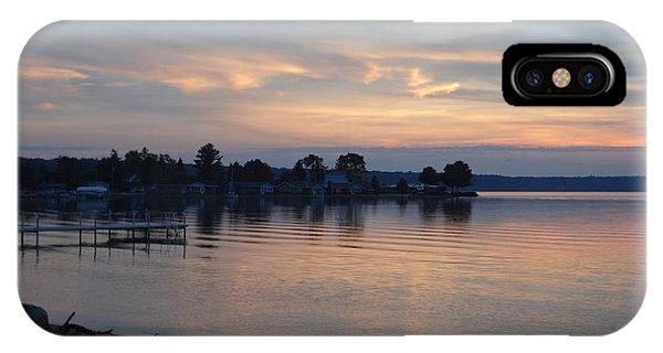 Burt Lake Sunset Silhouette IPhone Case