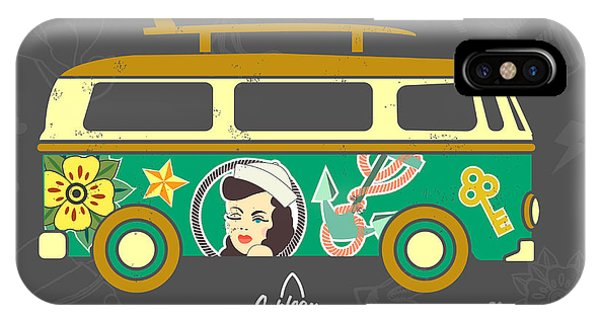 1960s iPhone Case - Bus With Surfboard by Naches