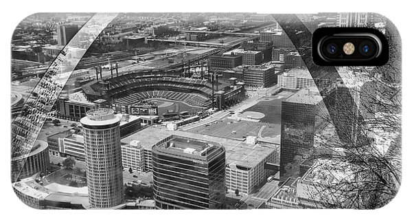 Busch Stadium Bw A View From The Arch Merged Image IPhone Case