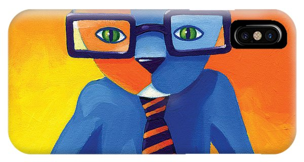 Glasses iPhone Case - Business Cat by Mike Lawrence