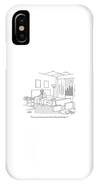 Businessman Sitting On A Bed In Hotel Room IPhone Case