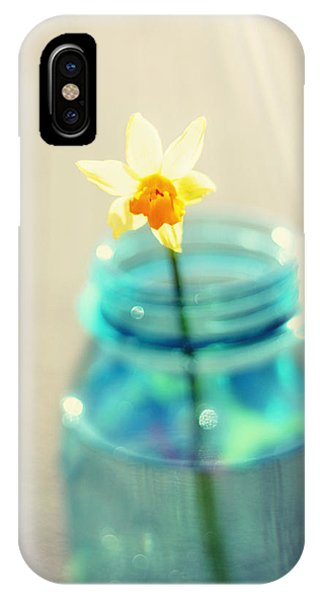 Uplift iPhone Case - Buttercup Photography - Flower In A Mason Jar - Daffodil Photography - Aqua Blue Yellow Wall Art  by Amy Tyler