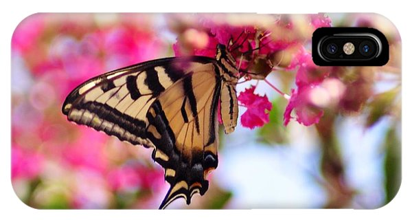 Butterfly On The Crepe Myrtle. IPhone Case