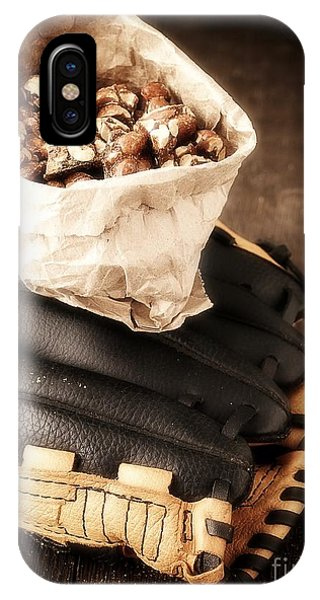 Baseball Gloves iPhone Case - Buy Me Some Peanuts And Cracker Jack by Edward Fielding