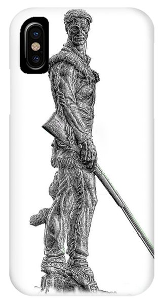 IPhone Case featuring the photograph Bw Of Mountaineer Statue by Dan Friend