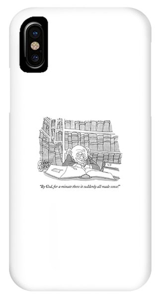 Reading iPhone Case - By God, For A Minute There It Suddenly All Made by Gahan Wilson