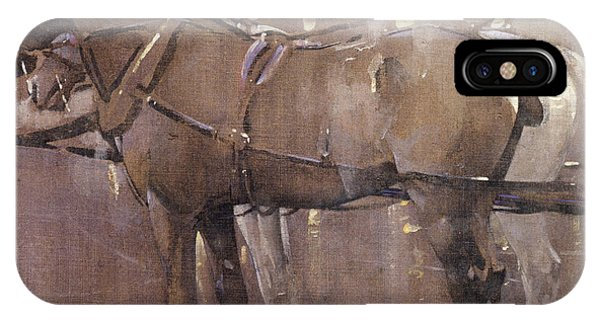Cab Horses By Gaslight  IPhone Case