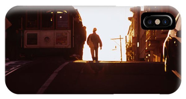 Trolley Car iPhone Case - Cable Car On The Tracks At Sunset, San by Panoramic Images