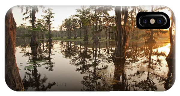 Bald Cypress iPhone Case - Caddo Lake, Texas At Sunrise by Larry Ditto