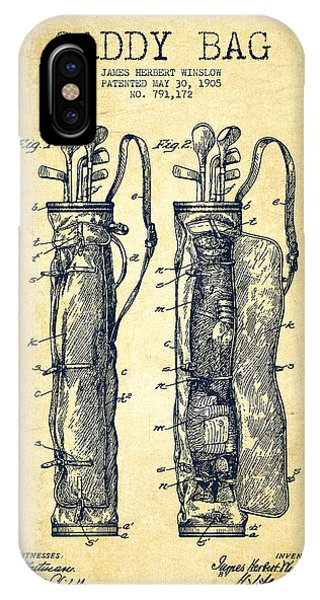 Golf Ball iPhone Case - Caddy Bag Patent Drawing From 1905 - Vintage by Aged Pixel