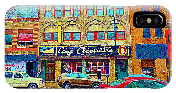 China Town iPhone Case - Cafe Cleopatra Nightclub St Laurent Taverns Bars Strip Clubs Downtown Urban Scenes C Spandau by Carole Spandau