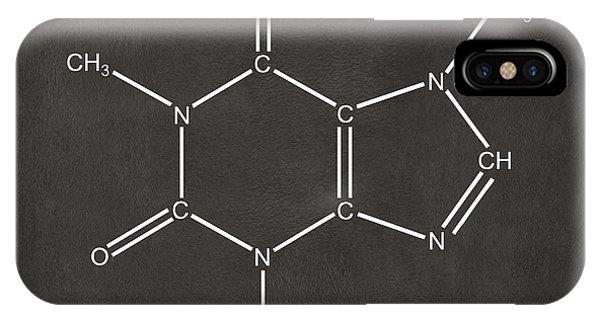 Dark Humor iPhone Case - Caffeine Molecular Structure Gray by Nikki Marie Smith