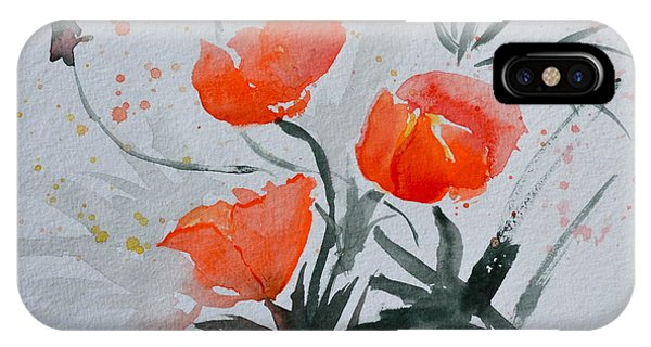 California Poppies Sumi-e IPhone Case