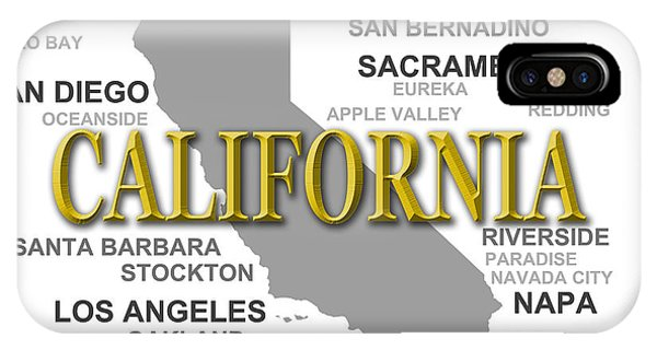 Fresno Silhouette iPhone Case - California State Pride Map Silhouette  by Keith Webber Jr