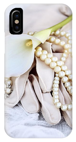 Calla Lily With Pearls IPhone Case