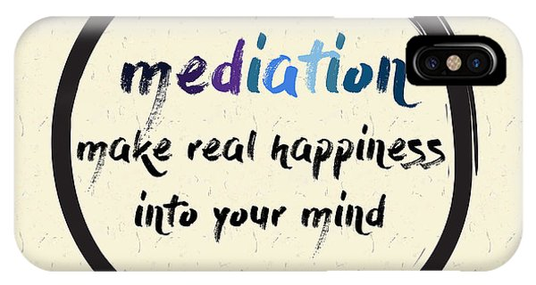 Buddhism iPhone Case - Calligraphy Mediation Make Real by Emilie Gerard