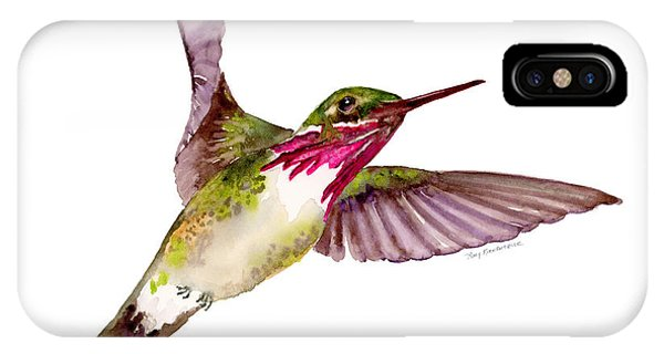 Bird Watercolor iPhone Case - Calliope Hummingbird by Amy Kirkpatrick