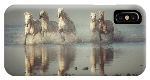 French iPhone X Case - Camargue Horses by Rostovskiy Anton