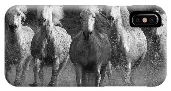 White iPhone Case - Camargue Horses Running by Carol Walker