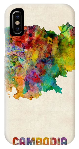 Cambodia iPhone Case - Cambodia Watercolor Map by Michael Tompsett