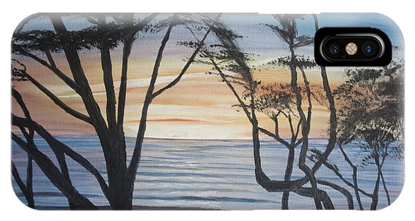 Cambria Cypress Trees At Sunset IPhone Case