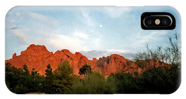 Camelback Mountain And Moon IPhone Case
