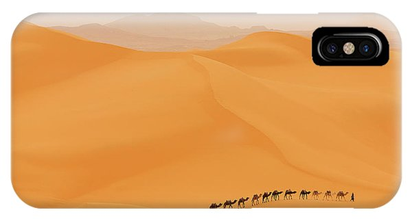 Dunes iPhone Case - Camels Caravan In Sahara by Dan Mirica